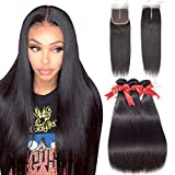ALLRUN Straight Hair Bundles with Closure Middle Part(16 18 20+14closure) Brazilian Straight Human Hair 3 Bundles with Middle Part Lace Closure Human Hair Extensions Natural Black Color