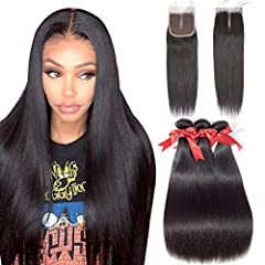 ALLRUN-A Hair Brand Which is Established By 20 -Years Human Hair Producing Experience Factory.Specialized in Top Quality Human Hair Extensions,Excellent Customer Service. Hair Type:100% Unprocessed Brazilian Human Hair Straight Hair Bundles with Clos...