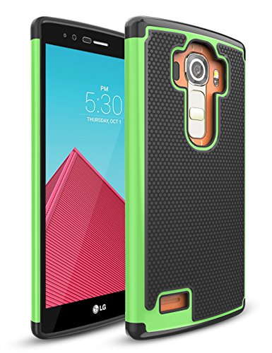 TILL for LG G4 Case, TILL(TM) [Green] [Shock Absorption] Dual Layer Hybrid Rugged Defender Soft Rubber & Hard Plastic Protective Grip Cute Case Cover for LG G4 H810 H811 LS991 US991 VS986