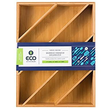 "Diagonal Space Saving Bamboo Drawer and Cabinet Organizer Divider fits Drawers 17"" X 12"" X 2.5"" by Eco Kitchenware"