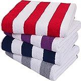 Utopia Towels - Serviettes de Plage Cabana Stripe (76 x 152 cm) - Grandes Serviettes de Piscine 100% Coton filé, Serviettes de Bain Douces et à séchage Rapide (Lot de 4 - Rouge, Marine, Gris, Prune)