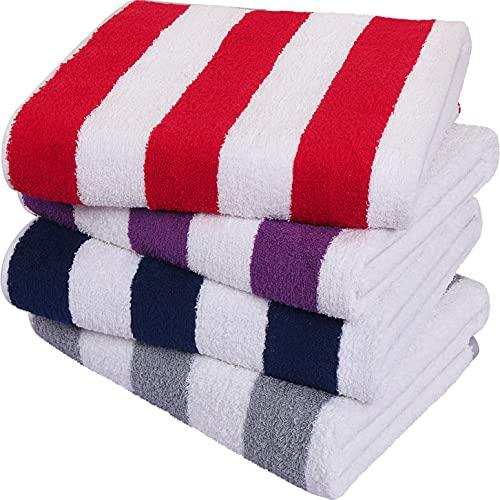 Utopia Towels - Toallas de Playa a Rayas Cabana, (76 x 152 cm) - Toallas de Piscina Grandes de algodón 100% Hilado en Anillos, Suaves y de Secado rápido (Paquete de 4 - Rojo, Azul Marino, Gris, Ciruela)