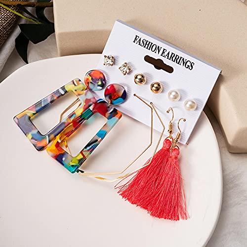 FEARRIN Pendientes de aro Vintage Conjunto de Pendientes de Mujer Pendientes de aro de Perlas acrílicos para Mujer Pendientes de Borla Bohemios Joyas Kolczyki geométricas Gold297
