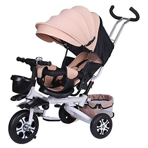 QINJIE Triciclo para niños Bicicleta Plegable Cochecito de bebé Bicicleta Walker,Rosado