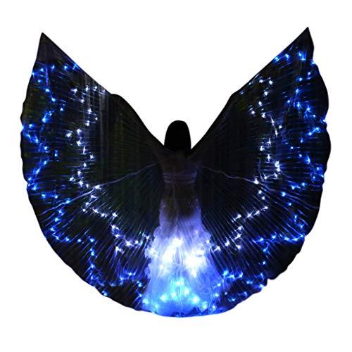 Schmetterling Flügel Kostüm schmetterlingsflügel Butterfly Schal Flügel Cape Umhang LED Isis Wings leuchten Bauchtanz Club Kostüme Performance Bekleidung ( 1 x Flügel + 1 x Teleskopstöcke,Blau )