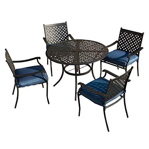 Festival Depot 5 Piece Outdoor Furniture Patio Dining Set All Weather Bistro Chairs with Seat Cushions, Round Metal Table with Umbrella Hole for Deck Lawn Garden Black (Blue)