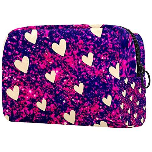 Bolsa de maquillaje de viaje, bolsa de aseo de nailon resistente al agua, 18,5 x 7,5 x 13 cm