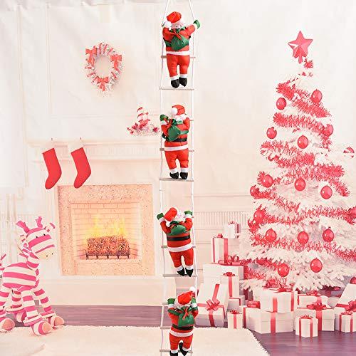 Fablcrew Papá Noel Muñeca Escalada escaleras Colgante Colgantes Ornamentos de decoración de árboles de Navidad Décor Exterior y Interior, Style2, 25 * 135CM: Amazon.es: Hogar