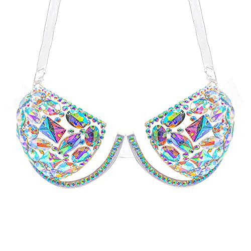 MineSign Gems Glitter Bra Clear Strap Sexy Top Bra Fashion Women Acrlic Jewels Bra for Party Wedding Costume Large Cup C-D Black