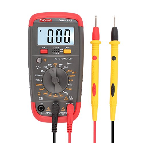 uxcell Digital Multimeter Multi Tester AC/DC Voltage Current Temperature Test Resistance Continuity Diode Transistor HFE Meter with LCD Display Smart-A
