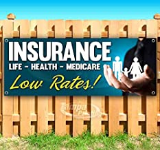 Insurance Low Rates 13 oz Heavy Duty Vinyl Banner Sign with Metal Grommets, New, Store, Advertising, Flag, (Many Sizes Available)