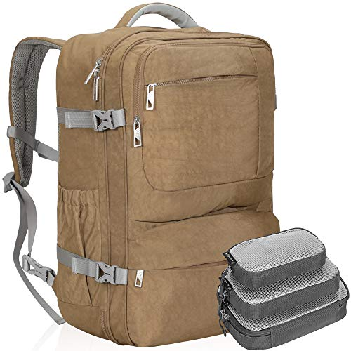 Hynes Eagle 44 l Handgepäck-Rucksack, Fluggenehmigt, Kompressions-Reisetasche, Handgepäcktasche, Kaki mit Grau, 3 Packwürfel 2019, Large, Classic