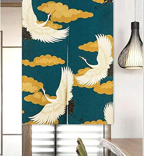 LIGICKY Cortina larga de estilo japonés de lino grueso Noren, cortina para puerta, separador de espacios, tapiz, para textiles del hogar, 85 x 120 cm, verde (grúa floral coronada de luna)
