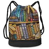 AOOEDM Bolsa de gimnasio unisex para mujeres, hombres, mochila con viga de pesca, mochila impermeable para nadar, motociclismo (estantería para libros, biblioteca, estantería para literatura)