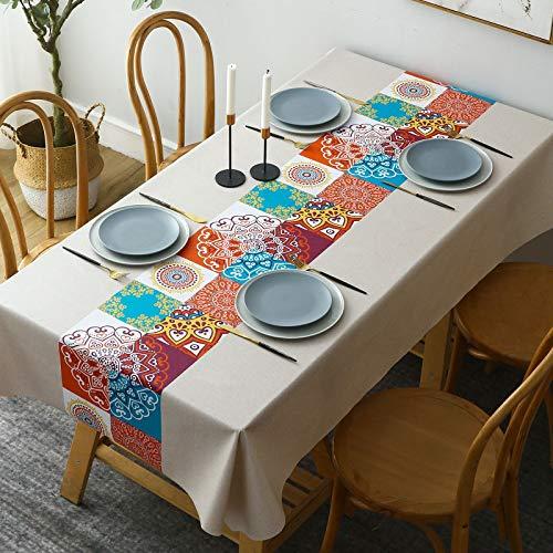 Nappe Enduite Rectangulaire, DECMAY Nappe Imperméable de Table, 140 x 180cm PVC Nappe, Lavable Entretien Facile Nappe, pour Table à Manger Picnic Party Jardin Nappe de Cuisine (140*180CM)