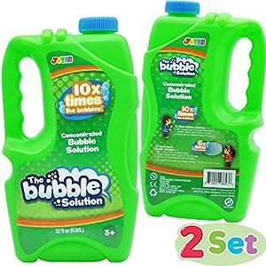 JOYIN 2 Piezas CONCENTRADAS Soluciones de Burbujas, 64 Onzas Líquido Pompas de Jabón para Máquina de Burbujas, Pascua, Verano