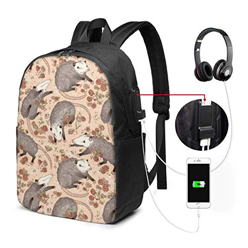Lawenp Opossum and Roses Leggings Travel Laptop Backpack,Business Anti Theft Slim Durable with USB Charging Port, College School Computer Bag Bookbag Casual Hiking Daypack for Women Men