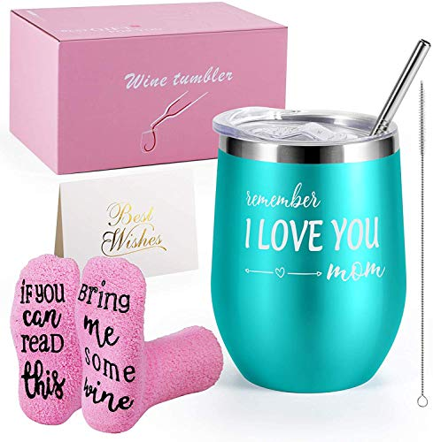 Insulated Wine Tumbler with Lid Blue, Double Wall Stainless Steel Stemless Insulated Wine Glass 12oz, Durable Insulated Coffee Mug, for Champaign, Cocktail, Beer, Office