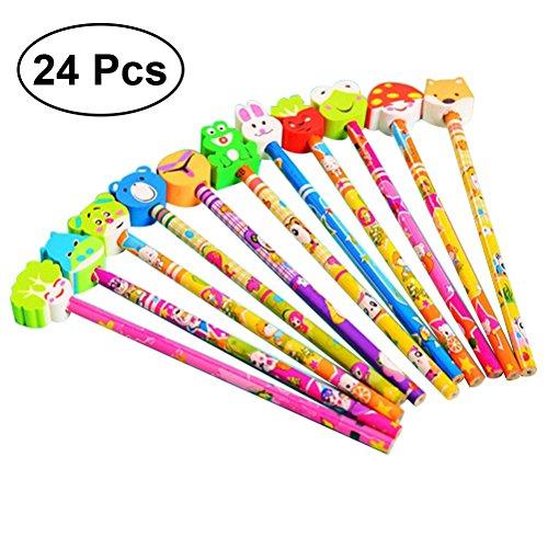 NUOLUX 24 pcs Mignon Crayon Graphite avec Dessin Animé Animaux Gommes Giveaway Pencial Party Faveurs Parfait Cadeau D'anniversaire pour Enfants Enfants ((Styles et Couleurs Mixtes)