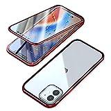 【YMXPY】表面強化ガラス+背面強化ガラス iPhone12 iPhone12 Pro ケース 両面ガラス 360°全面保護 アルミバンパー マグネット止め 取り付けやすい 磁力 表裏フルカバー クリア 透明 前面液晶ガラス 背面ガラス アイフォン クリアケース 擦り傷防止 ワイヤレス充電対応 (iPhone12/iPhone12Pro, レッド)