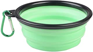 CRMY Tazón de Silicona para Mascotas Plegable, tazón para Mascotas portátil tazón de Comida para Mascotas (Marco Negro 380 ml) (Color : Light Blue)