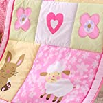 Wowelife-Pink-Crib-Bedding-7-Piece-Girl-Nursery-Bedding-with-Rabbit-and-SheepPink