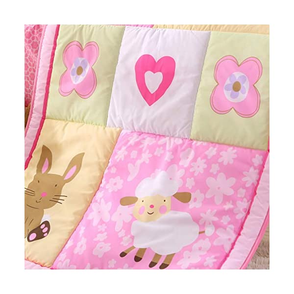 Wowelife Pink Crib Bedding 7 Piece Girl Nursery Bedding with Rabbit and Sheep(Pink)