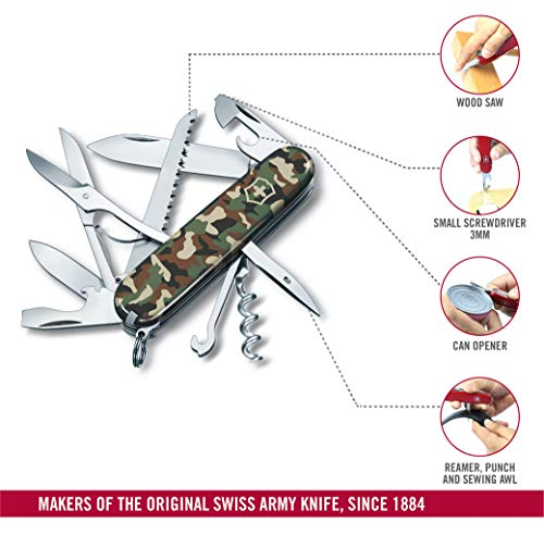 Victorinox Unisex's 1.3713 Huntsman Swiss Army Pocket Tool-Red, Camouflage, Medium/60 mm