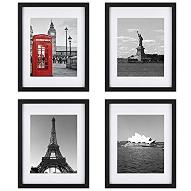 Tempered Glass 4PCs 11x14 Picture Frame with Mats for 8x10, 5x7 Photo, Black Wood Frame for Wall and Tabletop (Mounting Material Included)