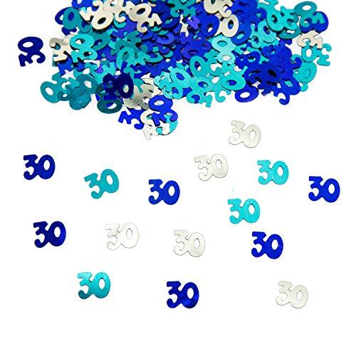 Oblique Unique® 30. Geburtstag Jubiläum Konfetti 500 STK. Blau Türkis Silber Tisch Deko Streudeko Geburtstagsdeko Zahlenkonfetti