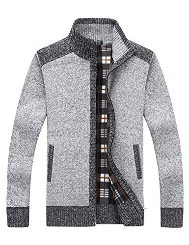 Yeokou Men's Casual Slim Full Zip Thick Knitted Cardigan Sweaters with Pockets (Medium, Z-12-Light Grey)