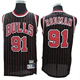Dennis Rodman # 91 Herren-Basketball Jersey, Bulls Retro All-Star atmungsaktiv Swingman Trikots (Color : Black(B), Size : XXL)
