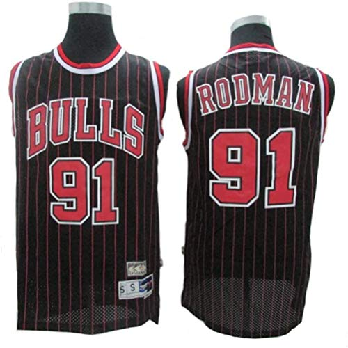 Dennis Rodman # 91 Herren-Basketball Jersey, Bulls Retro All-Star atmungsaktiv Swingman Trikots (Color : Black(B), Size : S)