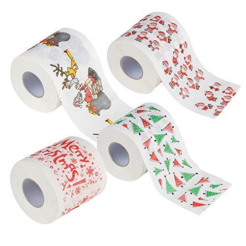 ShiyiUP 4pcs Feliz Navidad Rollo de Mano Toalla Papá Noel