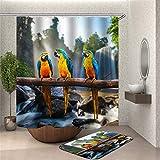 Chickwin Duschvorhang Wasserdicht Schimmelresistent, Polyester Anti-Schimmel Bad Vorhang mit 12 Duschvorhangringe 3D Drucken Badvorhänge für Badezimmer Decor (Farbe Papagei,90x180cm)