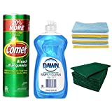 Comet Cleanser Kitchen and Bathroom Kit (Includes 21 Oz Canisters Comet Cleanser Powder with Bleach, Dawn Simply Clean Dishwashing Liquid 12.6 oz, Microfiber Towel Cloths, Scouring Pads)