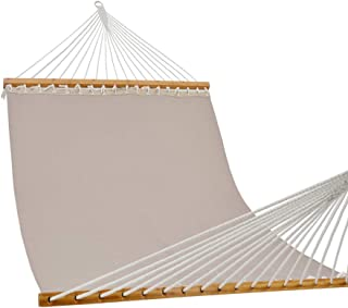 PATIO GUARDER 14 FT Portable Hammock with Double Size, Quick Dry Hammock with Solid Bamboo Spreader Bar and Chains, Outdoor Patio Yard Beach Hammock, UV Resistance, 450 Lb Capacity, Light Grey