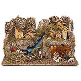 Holyart Portal de bel?n con Fuego, Luces, Cascada y Cueva 40x58x38, con estatuas