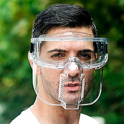 Bluelans Protective Visor Face Shield Clear Visor Transparent Face Shield Anti Splash Full Face Cover Mask with Detachable Safe Google Eye Glasses for Workshop Cooking Cleaning Clear