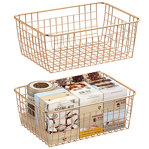 Wire Storage Basket F-color 2 Pack Large Metal Household Storage Organizer Bin with 4 Built-in Handles for Pantry Shelf Freezer Kitchen Cabinet Bathroom Rose Gold