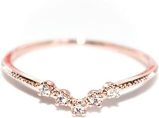 Crystal V- 18K Rose/White Gold-Plated CZ Crystal Dainty Ring