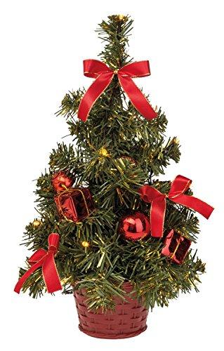 Idena 8582154 - Deko Tannenbaum mit 10 LED warm weiß, mit 6 Stunden Timer Funktion, Batterie betrieben, für Weihnachten, Advent, als Stimmungslicht, Christbaum, ca. 35 cm