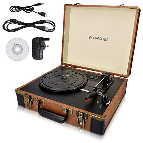 Navaris Briefcase Record Player - Vinyl Turntable Retro Portable Suitcase Deck with 2 Built-In Speakers & Vinyl to MP3 Conversion - Brown / Black