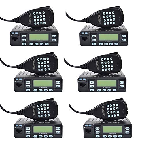 TWAYRDIO Dual Band Mini Mobile Radio 898UV 144/430MHZ VHF UHF Car Vehicle FM Transceiver with Program Cable(6Pack)