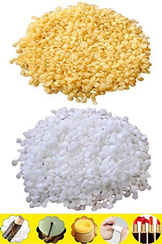 TooGet Gránulos de Cera de Abejas Amarillos Puros 200 g de gránulos de Cera de Abejas Blancos 200g - Grado 100% Natural, cosmético, 400g