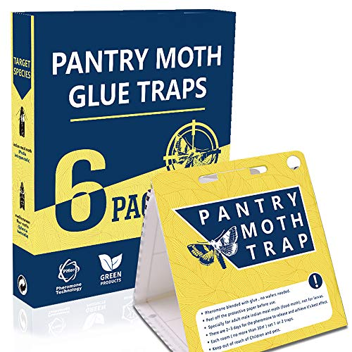 WGCC Pantry Moth Traps 6-Pack - Safe Non-Toxic Eco-Friendly Moth Glue Traps with Pheromones Sticky Adhesive Tool for Kitchen Pantry Cupboard Cabinet - Pesticides & Insecticides Free