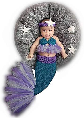 Pasgeboren Baby Meisje Gebreide Kostuum Outfit Fotografie Props Zeemeermin Hoofdband BH Staart Paars Purple Mermaid