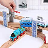 CactusAngui DIY Toys Display Mold Wooden Double Deck Bridge Overpass Toy DIY Train Tracks Railway Scene Accessory