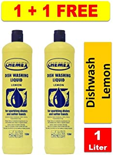 Chemex Dish Washing Liquid Lemon, 1 Liter (1+1 FREE)