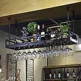 AERVEAL Estante de Vino Metal Muro Negro Colgante Montado Vino Champagne Copos de Vidrio Stemware Rack Holder Fácil de Instalar Almacenamiento